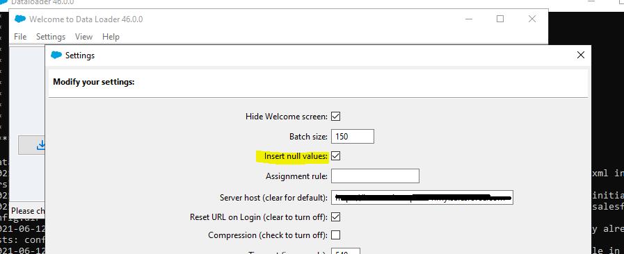 Impostazioni Dataloader